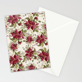 Poinsettia Pattern Stationery Cards