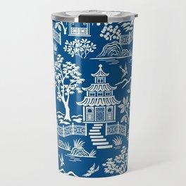 Chinoiserie Pagoda Dark blue Travel Mug
