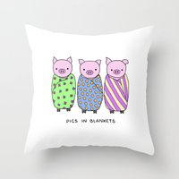 blankets Throw Pillows featuring Pigs in Blankets by Charlotte Lucy