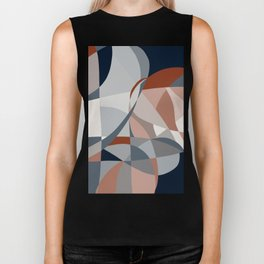 Navy and Rust (XIV) Abstract Biker Tank