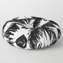 Palm Leaf Pattern Black Floor Pillow