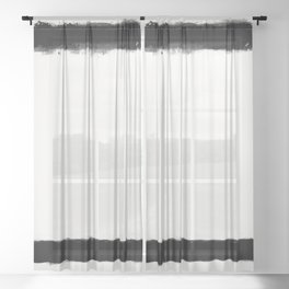 Square Strokes Black on White Sheer Curtain