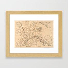 Vintage Map of Haverhill MA (1909) Framed Art Print