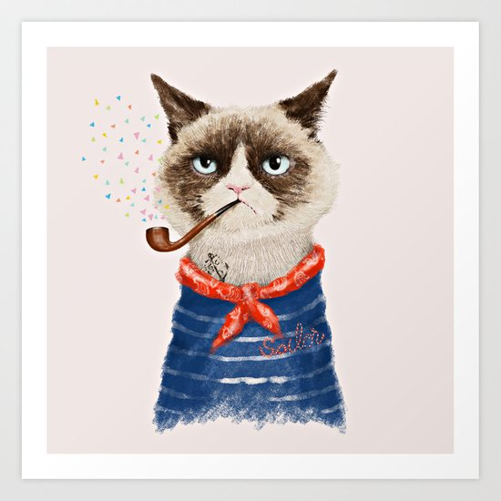 Sailor Cat V Art Print
