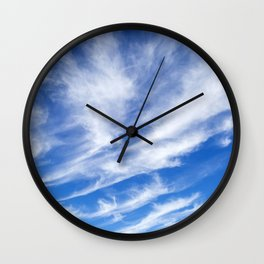 Wispy Cirrus Clouds in the Sky Wall Clock