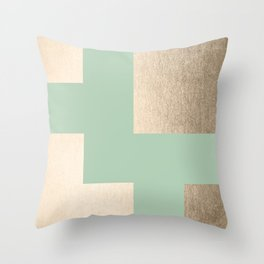 Simply Geometric White Gold Sands on Pastel Cactus Green Throw Pillow