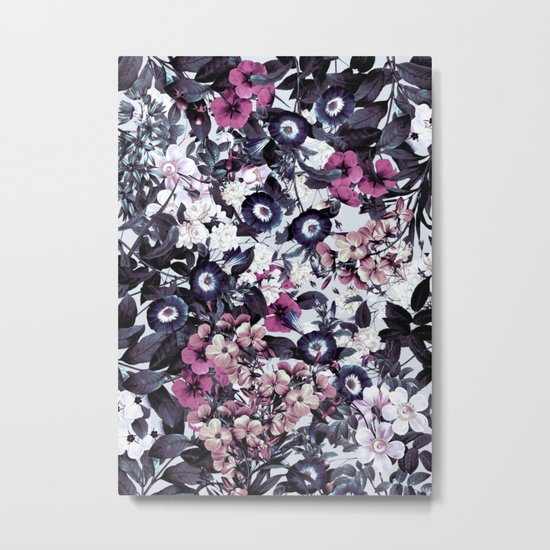 Bohemian Floral Nights Pink and Gray Metal Print