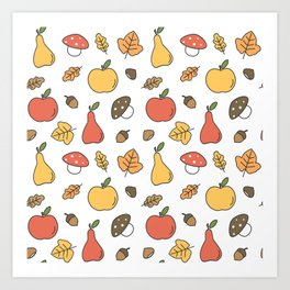 cute colorful autumn fall pattern with pears, apples, leaves, acorns, chestnuts and mushrooms Art Print