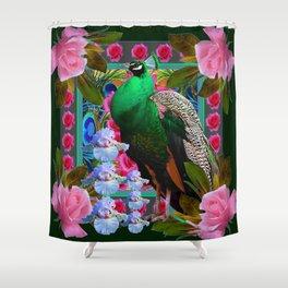 PINK ROSES & GREEN PEACOCK GARDEN FLORAL ART Shower Curtain