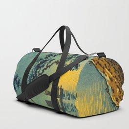 Tsuchiya Koitsu Maiko Seashore Japanese Woodblock Print Night Time Moon Over Ocean Sailboat Duffle Bag