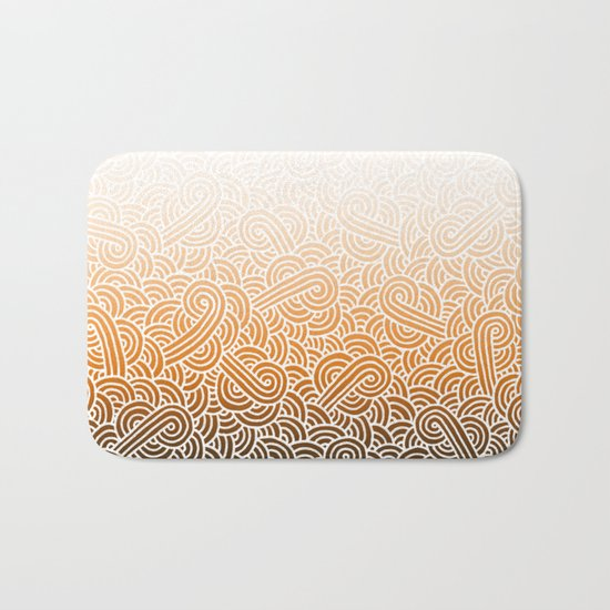 Ombre orange and white swirls doodles Bath Mat