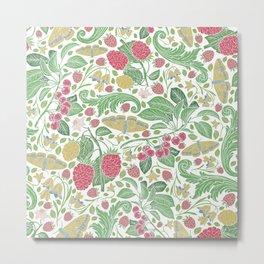 English garden berries flowers & butterflies Metal Print