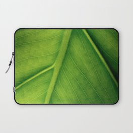 Macro photo of green leaf. Concept nature and ecology. Laptop Sleeve
