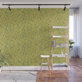 Tropical Dark Teal Abstract Crescent Moon Shape Pattern Inspired by Sherwin Williams 2020 Trending Color Oceanside SW6496 on Dark Yellow Wall Mural