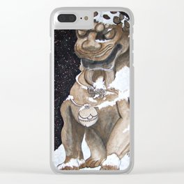 Lion Statue Clear iPhone Case