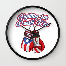 Fighting For Puerto Rico - Boxing Gloves Flag Wall Clock