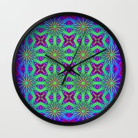psychedelic Wall Clocks featuring PSYCHEDELIC flowers by 2sweet4words Designs