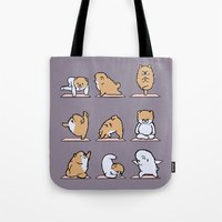 pomeranian Tote Bags featuring Pomeranian yoga by Huebucket