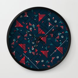 Geometric Abstract Red Pattern Wall Clock