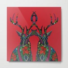 poinsettia deer red Metal Print