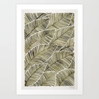 Tropical Leaves – Taupe Palette Art Print