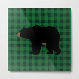 Black Bear - Green Plaid Metal Print