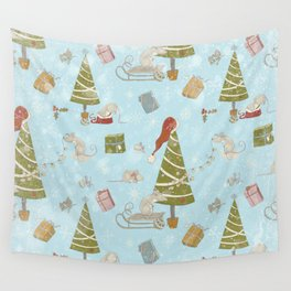 From Mice And Christmas - Cute teal X-Mas Pattern Wall Tapestry
