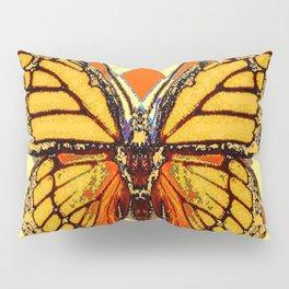 MONARCHS BUTTERFLY  &  ORANGE-BROWN HARLEQUIN PATTERN Pillow Sham