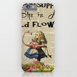 wild flower alice in wonderland mad iPhone Case