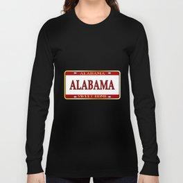 Alabama State Name License Plate Long Sleeve T-shirt