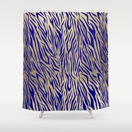 Modern Elegant Navy Blue Gold Zebra Animal Print Pattern Shower Curtain