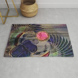 Egyptian Scarab Beetle Abstract on canvas Rug