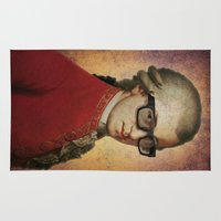 mozart Area & Throw Rugs featuring Funny Hipster Mozart by Paul Stickland for StrangeStore