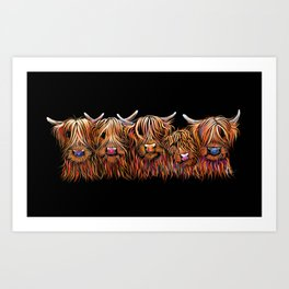 SCoTTiSH HiGHLaND CoWS ' THe HaiRY BuNCH Of CooS ' By SHiRLeY MacARTHuR Art Print