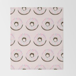 Pinky donuts Throw Blanket