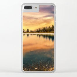 Lake Mountains and Sunset Clear iPhone Case