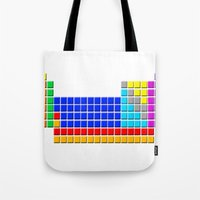 periodic table Tote Bags featuring PERIODIC TABLE OF ELEMENTS by darlthedreamer