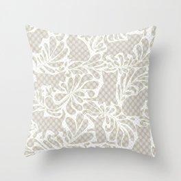 Victorian Kitten Lace Throw Pillow