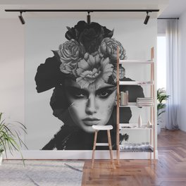 woman with flowers(black and white) Wall Mural