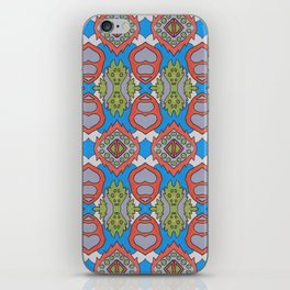 Wilma - Symmetrical Abstract Art in Blue, Orange and Green iPhone Skin