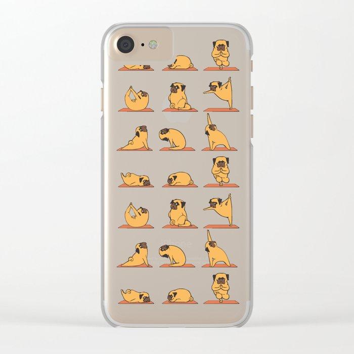Pug Yoga Clear iPhone Case