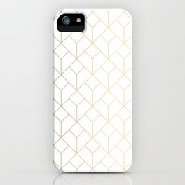 Golden Modern Abstract Geometric Pattern On White Background iPhone Case