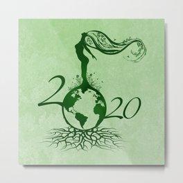 Mother Earth 2020 - Grunge Green Metal Print