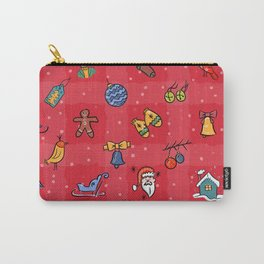 Whimsy Christmas icons in Red2 Carry-All Pouch