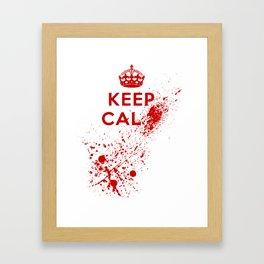 Keep Calm Blood Splatter Framed Art Print