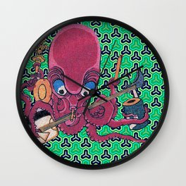 Kuniyoshi Musical Octopus with Bishamon Kikko Background Wall Clock