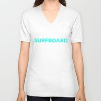 surfboard V-neck T-shirts featuring Surfboard by Poppo Inc.