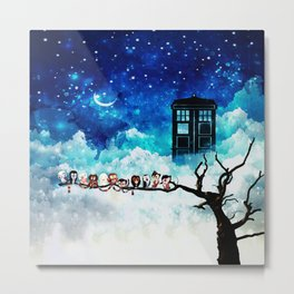 Owl Tardis Starry Night Metal Print