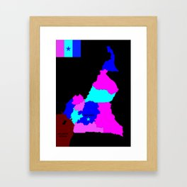 political map of cameroon country with flag Framed Art Print