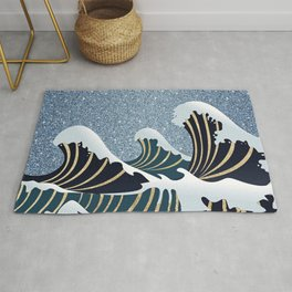 Abstract navy blue gold glitter japanese wave Rug
